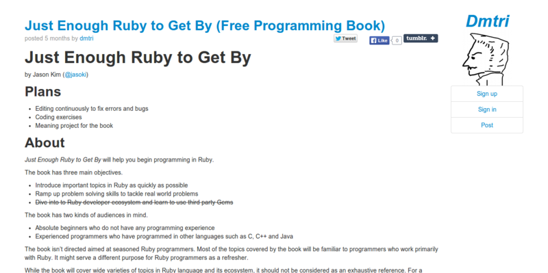 Just Enough Ruby to Get By  Free Programming Book    dmtri