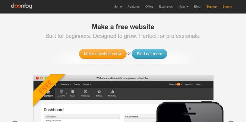 Make a free website with doomby the free website builder