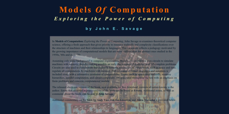 Models Of Computation: Exploring the Power of Computing