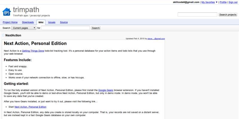 NextAction trimpath TrimPath ajax javascript projects Google Project Hosting