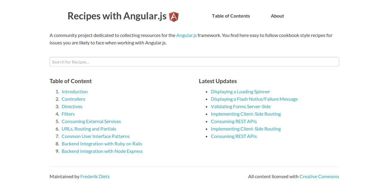 Recipes with Angular.js Home
