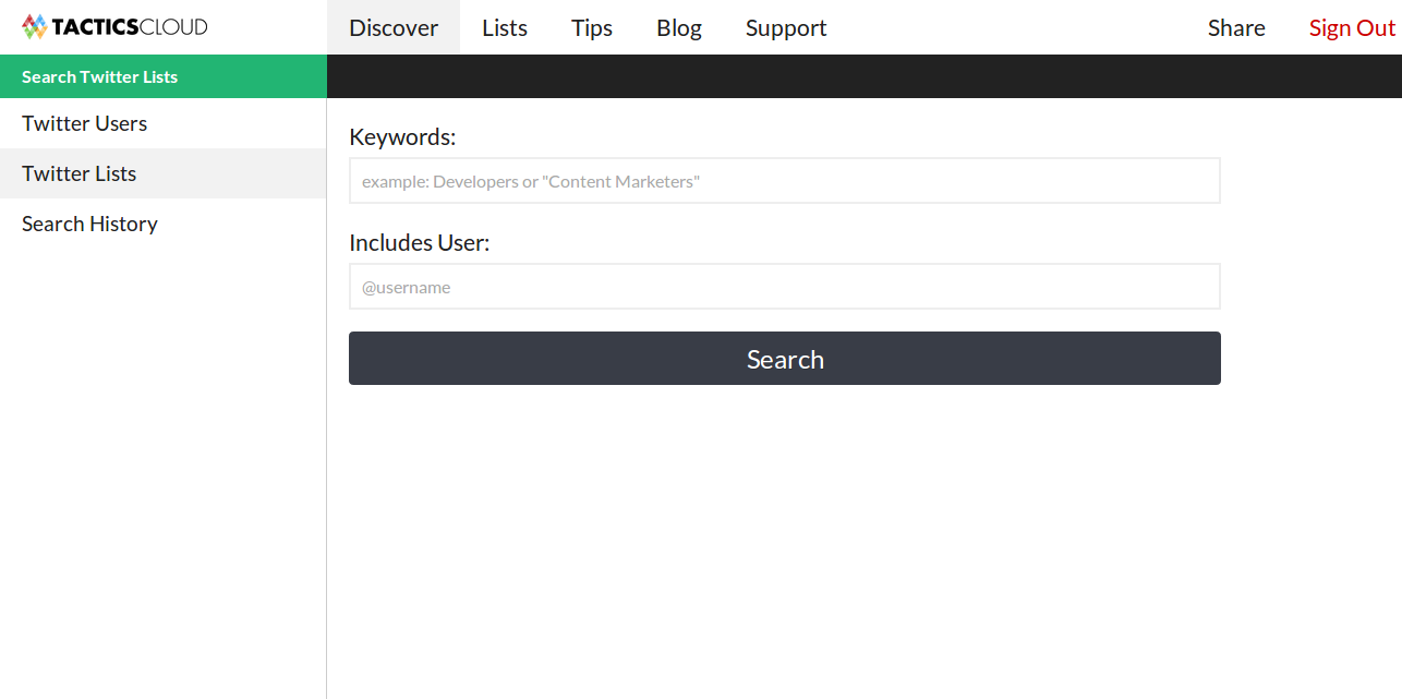SearchTwitterLists   Tactics Cloud