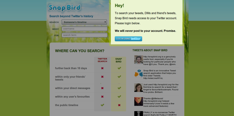 Snap Bird search twitter s history