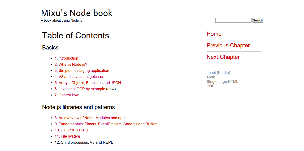 Table of Contents   Mixu s Node book   Mixu s Node book