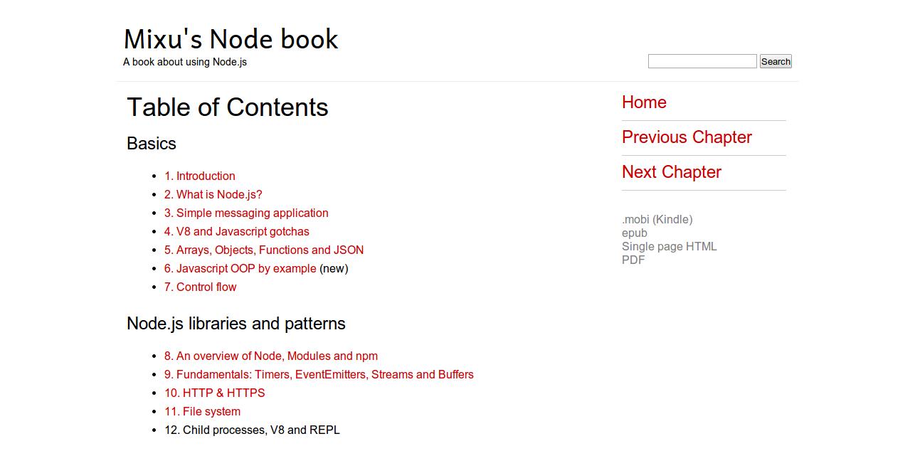 Table of Contents Mixu s Node book Mixu s Node book