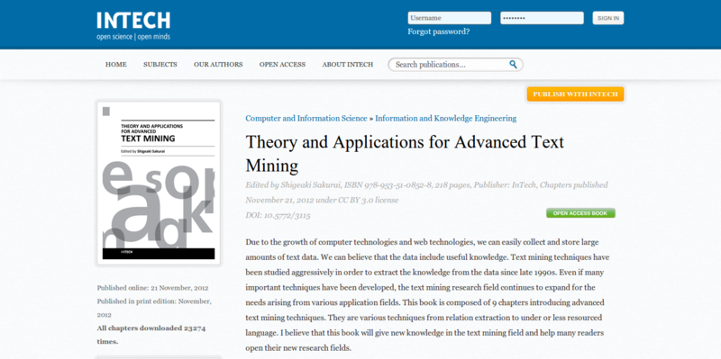 Theory and Applications for Advanced Text Mining