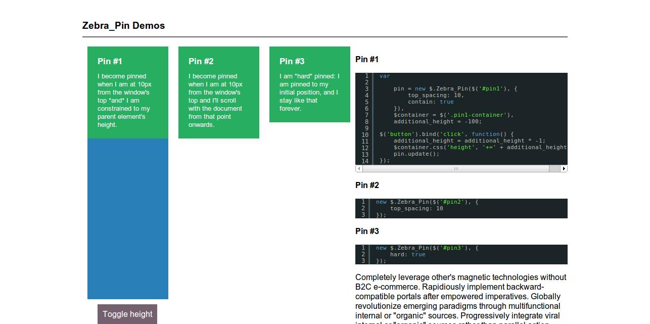 Zebra_Pin examples