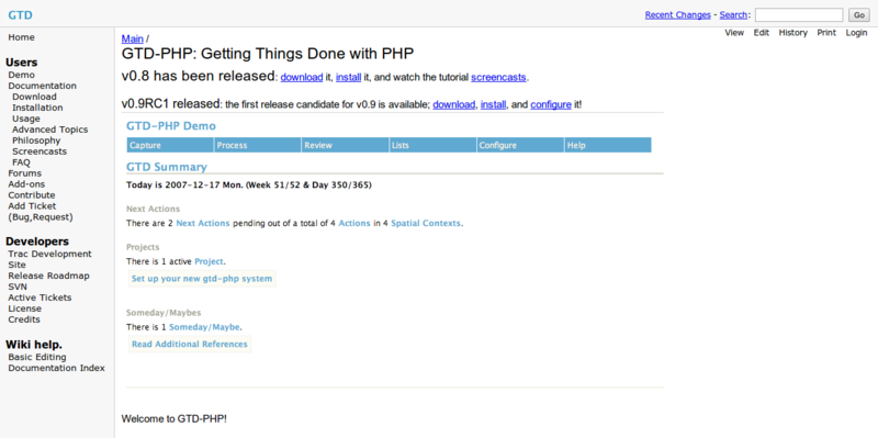 gtd php Documentation Main GTD PHP Getting Things Done with PHP
