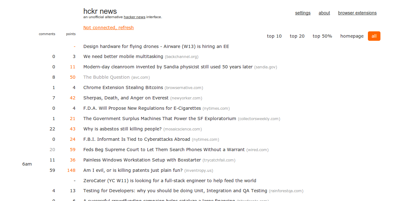 hckr news   Hacker News sorted by time