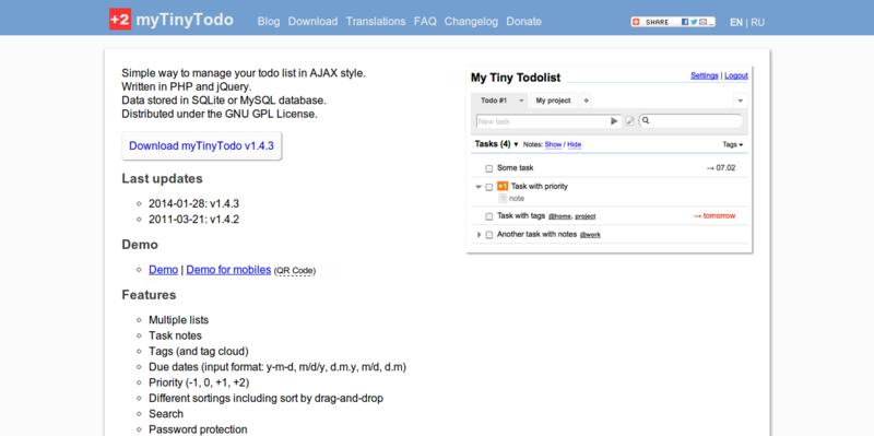 myTinyTodo simple open source to do list script written in PHP and jQuery