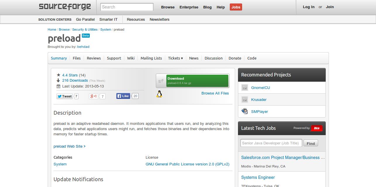 preload Free System Administration software downloads at SourceForge.net