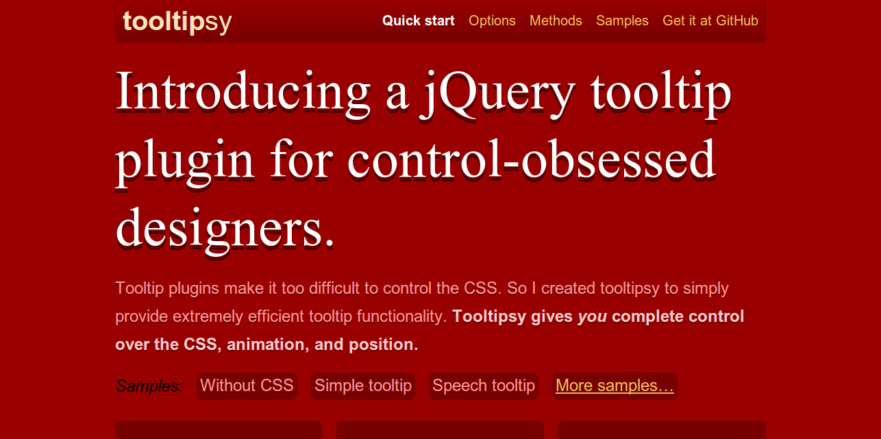 tooltipsy   jQuery tooltip plugin for control obsessed designers.