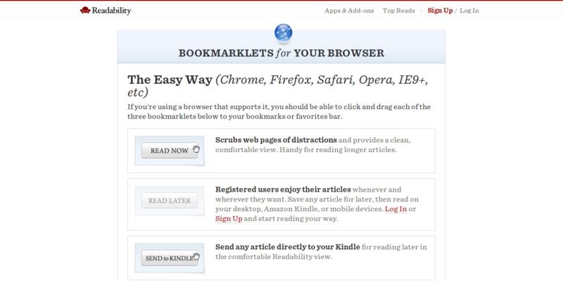 Bookmarklets — Readability