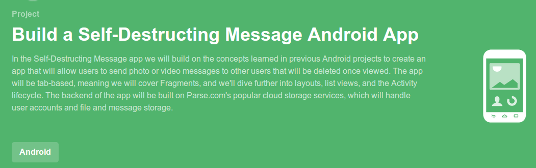 Build a Self Destructing Message Android App Project