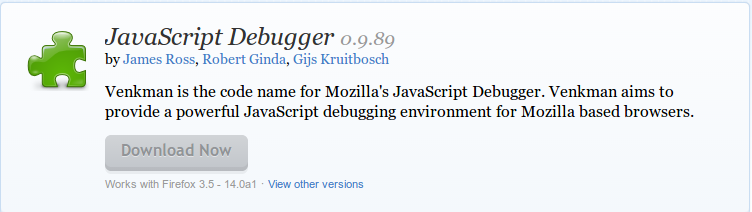JavaScript Debugger    Add ons for Firefox