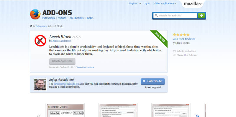 LeechBlock    Add ons for Firefox