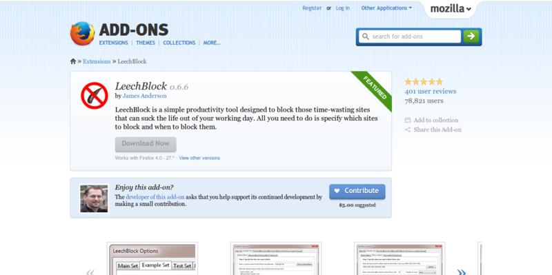 LeechBlock Add ons for Firefox