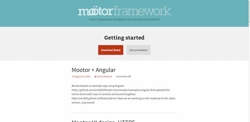 Mootor Framework HTML5 framework for mobile application development