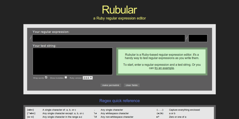 Rubular  a Ruby regular expression editor and tester