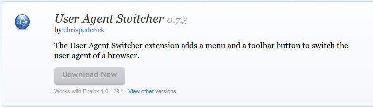 User Agent Switcher    Add ons for Firefox