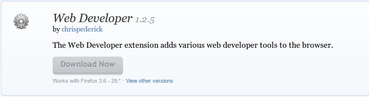 Web Developer    Add ons for Firefox