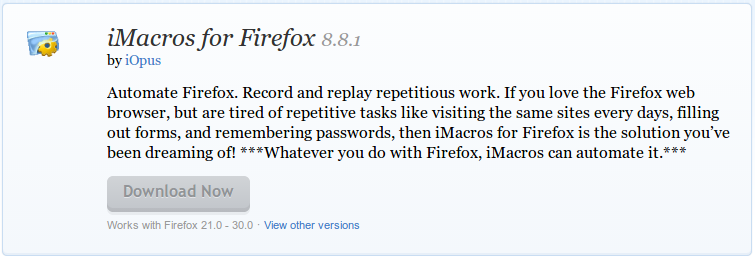 iMacros for Firefox    Add ons for Firefox
