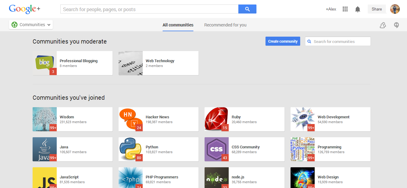 Google Plus Communities