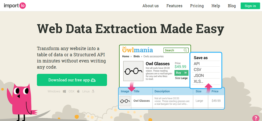 import.io Free Structured Web Data Scraping Tool