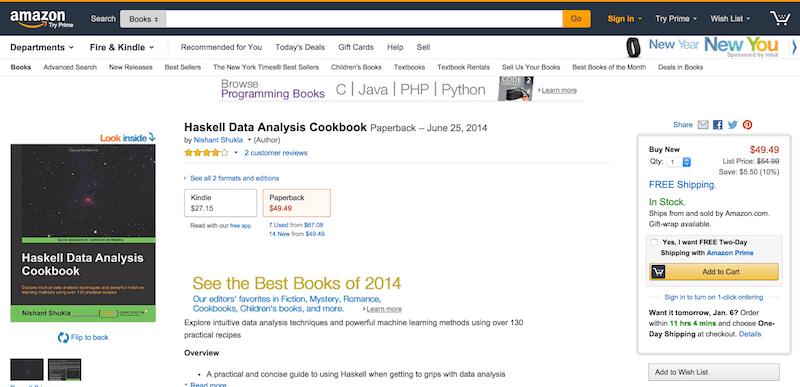 Haskell Data Analysis Cookbook  Nishant Shukla  9781783286331  Amazon.com  Books