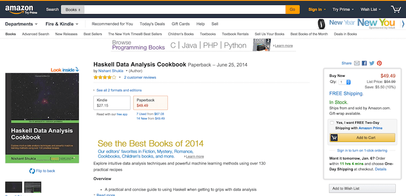 Haskell Data Analysis Cookbook  Nishant Shukla  9781783286331  Amazon.com  Books
