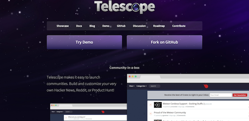 Telescope Build your own Hacker News Reddit or Product Hunt.