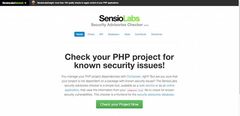 Check your PHP project for known security issues   SensioLabs Security Advisories Checker