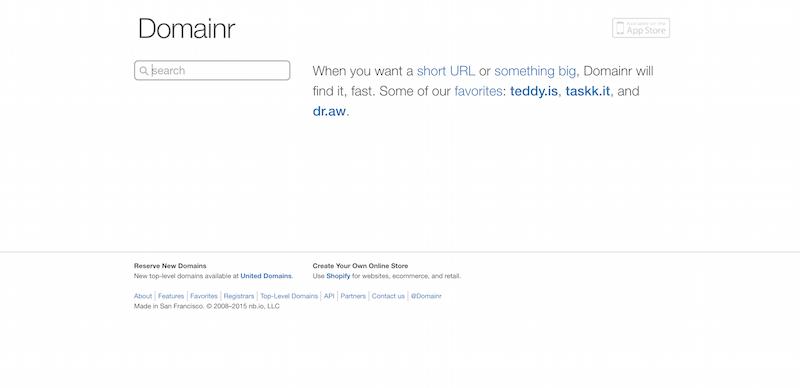 Domainr fast free domain name search short URLs international domain registration