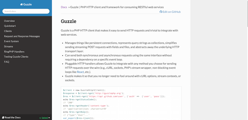 Guzzle   PHP HTTP client and framework for consuming RESTful web services — Guzzle Documentation