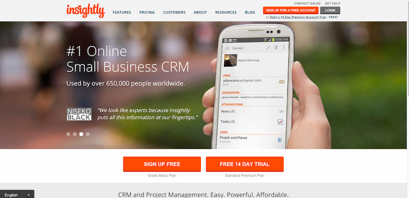 Insightly 1 Free CRM for Small Business Online Customer Relationship Software