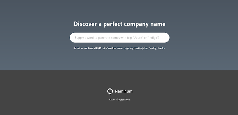 Naminum The ultimate company name startup name and website name on the web