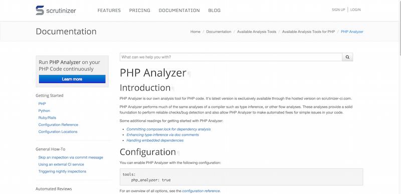 PHP Analyzer   Documentation