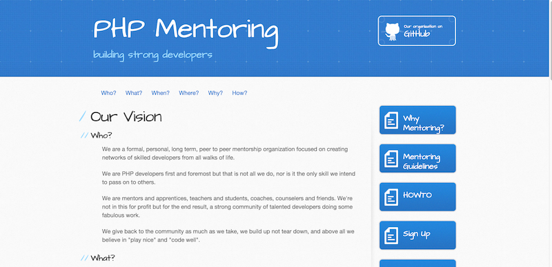 PHP Mentoring Vision