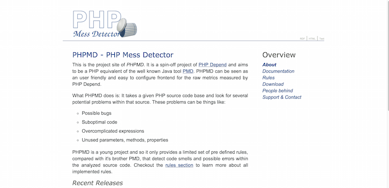 PHPMD   PHP Mess Detector
