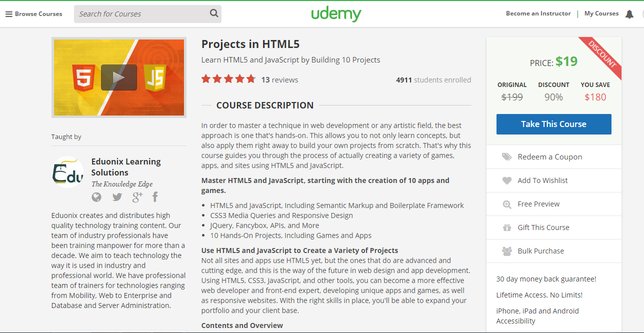 Projects in html5