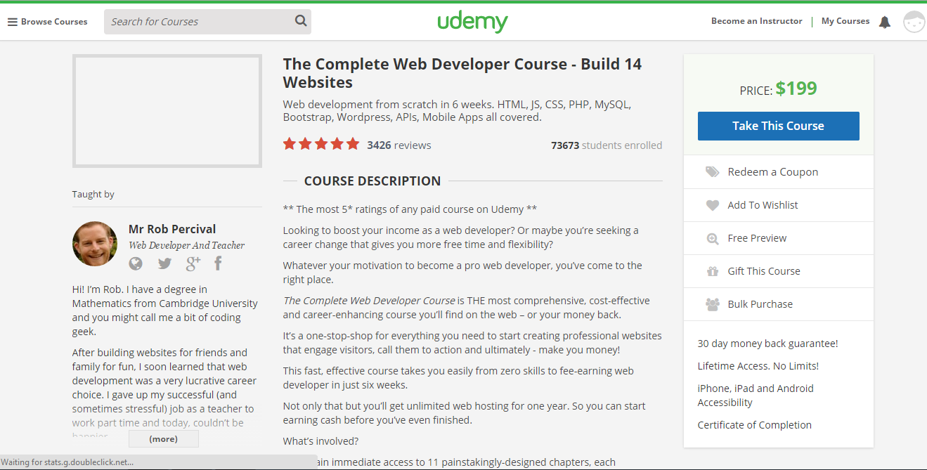 Rob web development course