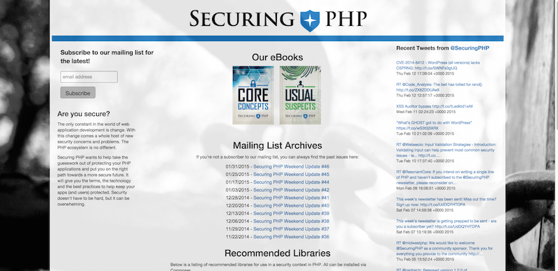 SecuringPHP.com The Securing PHP Project