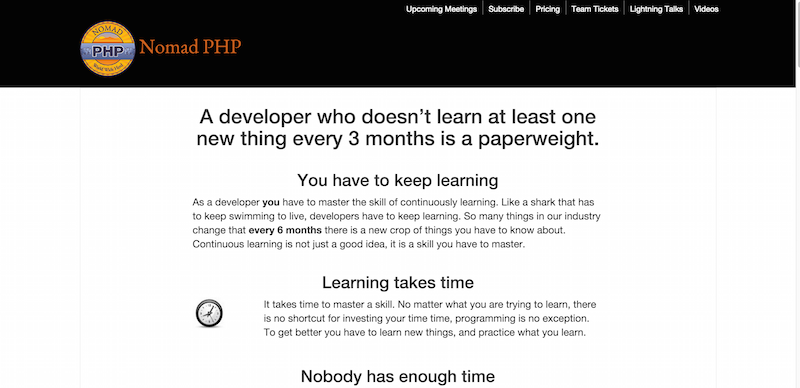 Start a habit of Continuous Learning with Nomad PHP