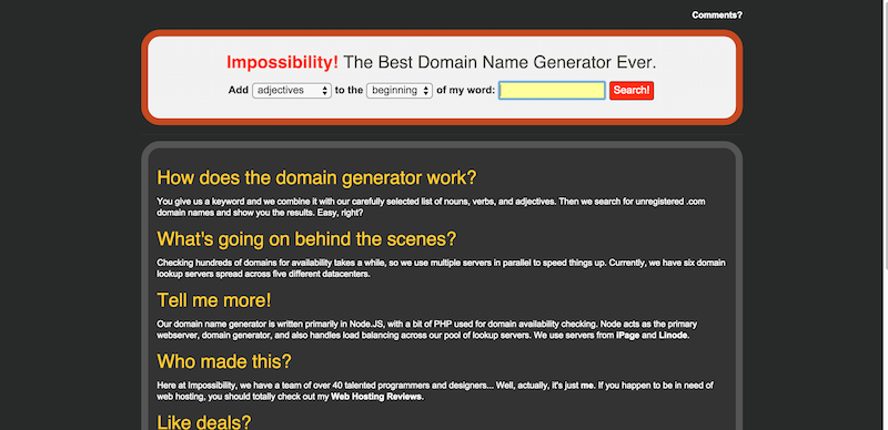 The Best Domain Name Generator Ever  Impossibility