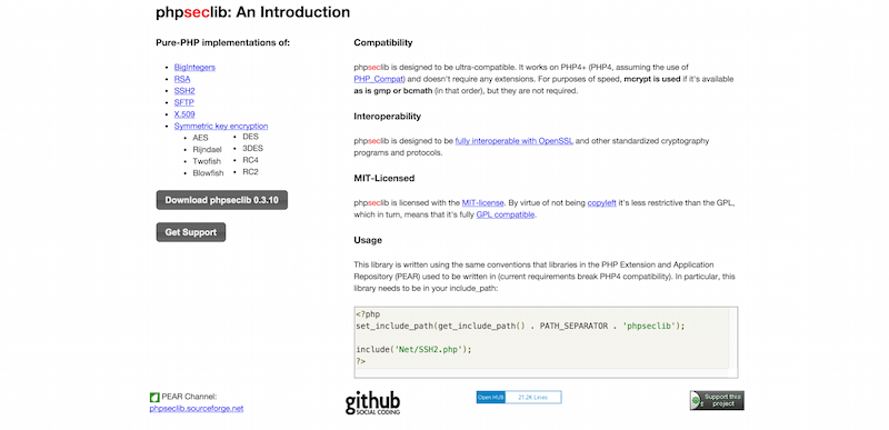 phpseclib  pure PHP implementations of SSH  SFTP  RSA and X.509