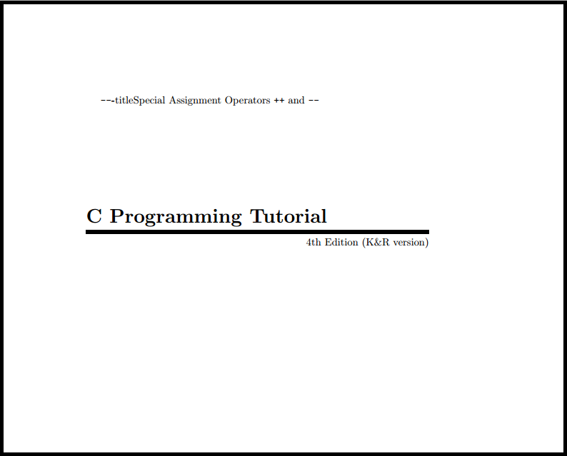 C Programming Tutorial by Mark Burgess