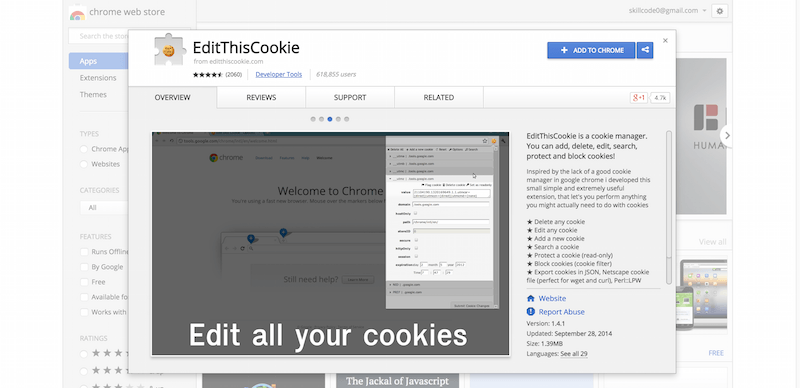 EditThisCookie Chrome Web Store