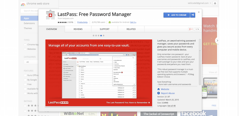 LastPass  Free Password Manager   Chrome Web Store