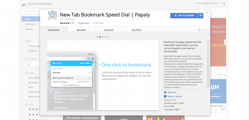 New Tab Bookmark Speed Dial   Papaly   Chrome Web Store