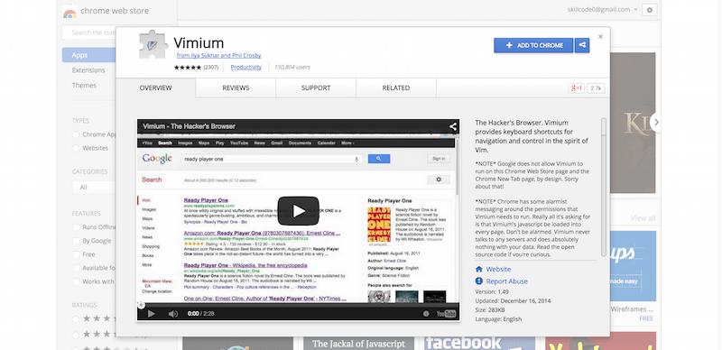 Vimium   Chrome Web Store